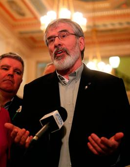 Sinn Fein leader Gerry Adams speaking to the media in the Great Hall, Stormont Credit: Brian Lawless/PA Wire