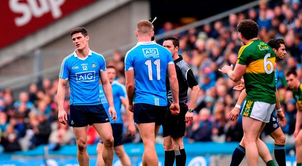 Diarmuid Connolly of Dublin is shown a black card by referee Paddy Neilan during last week's defeat to Kerry