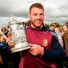 Sean O'Brien – with the Towns Cup after his Tullow side beat Skerries in yesterday's final – is one of the Leinster survivors from their last semi-final win over Clermont in 2012. Photo by Matt Browne/Sportsfile