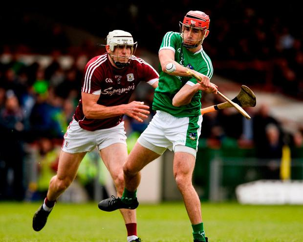 Limerick's Barry Nash in action against Galway's Gearoid McInerney. Photo: Diarmuid Greene/Sportsfile