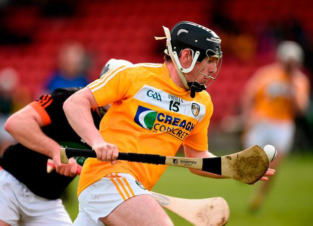 Antrim's Ciaran Clarke in action against Armagh's Odhran Curry. Photo: Oliver McVeigh/Sportsfile