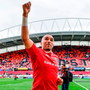 Simon Zebo acknowledges supporters after Munster's narrow victory over Ulster. Photo by Ramsey Cardy/Sportsfile