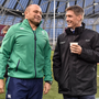 Ireland captain Rory Best, left, with former Ireland international Ronan O'Gara ahead of the Autumn International match between Ireland and Australia at the Aviva Stadium in Dublin. Photo by Brendan Moran/Sportsfile