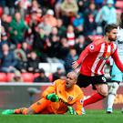 Darren Randolph reacts after Fabio Borini scores Southampton's second goal in the 90th minute. Photo: Reuters / Scott Heppell