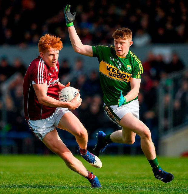 Galway's Peter Cooke in action against Kerry's Brian Ó Seanacháin. Photo: Ray McManus/Sportsfile