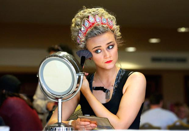 Laura Thompson from Worcester prepares to take to the stage at the World Irish Dancing Championship. Photo: Frank McGrath