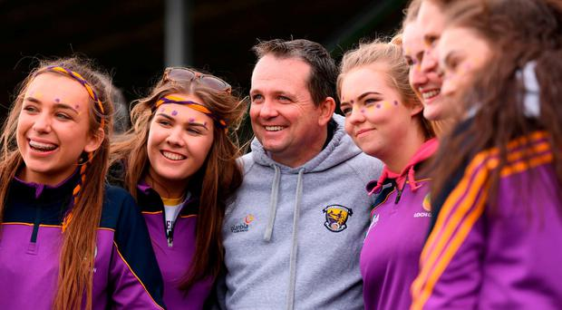 Davy Fitzgerald poses for a photograph after the game. Photo: Stephen McCarthy/Sportsfile