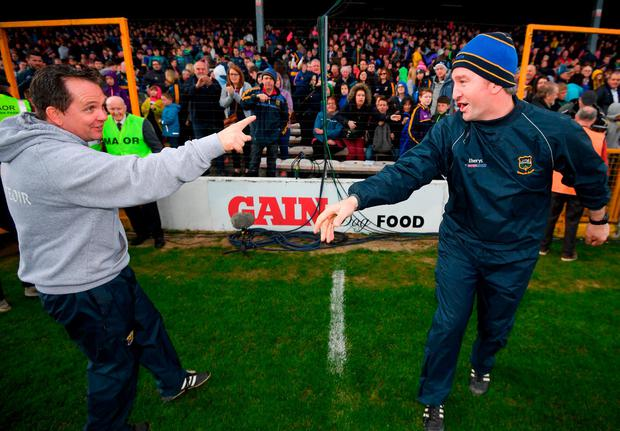Fitzgerald congratulates Tipperary boss Michael Ryan after tempers calm down in Nowlan Park. Photo: Stephen McCarthy/Sportsfile