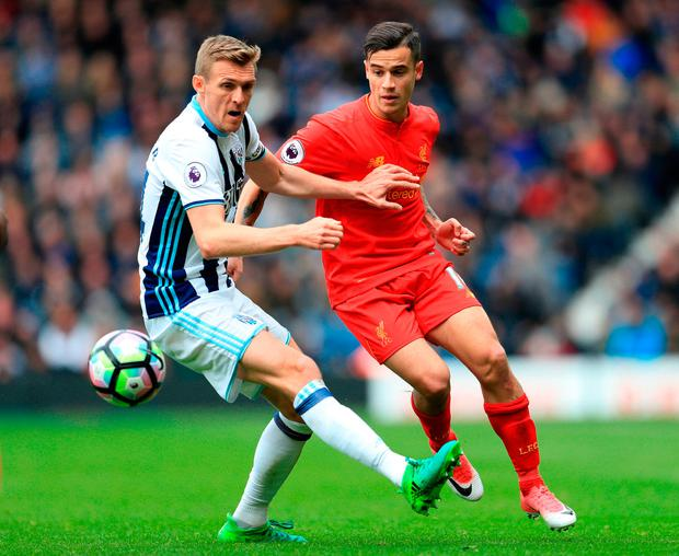 West Bromwich Albion's Darren Fletcher (left) and Liverpool's Philippe Coutinho in action. Photo credit: Adam Davy/PA Wire