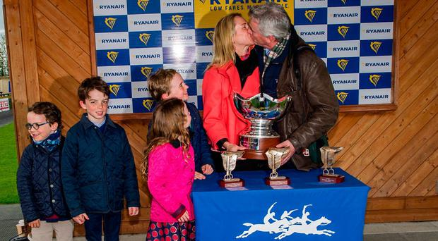 Michael O'Leary celebrates with his wife Anita and their children Zac (6), Luke (10), Tiana (7) and Matt (11). Photo: Doug O'Connor
