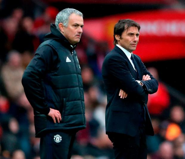 Chelsea manager Antonio Conte (right) and Manchester United manager Jose Mourinho. Photo: Nick Potts/PA Wire
