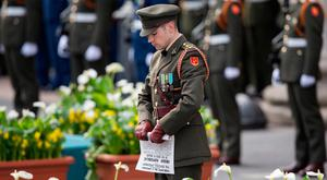 Captain Michael Barry who read the Proclamation at the Ceremony to mark the 101st Anniversary of the 1916 Easter Rising. Photo: Fergal Phillips