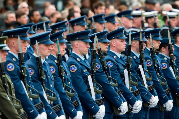 Members of the Defence Forces at the ceremony in Dublin. Photo: Fergal Phillips
