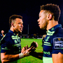 15 April 2017; Leinster's Zane Kirchner, left, and Adam Byrne congratulate each other following their side's victory during the Guinness PRO12 Round 20 match between Connacht and Leinster at the Sportsground in Galway. Photo by Seb Daly/Sportsfile