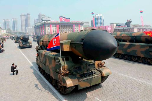 Ballistic missiles being displayed through Kim Il-Sung square during a military parade in Pyongyang marking the 105th anniversary of the birth of late North Korean leader Kim Il-Sung. Photo: AFP Photo/KCNA via KNS/STR/South Korea
