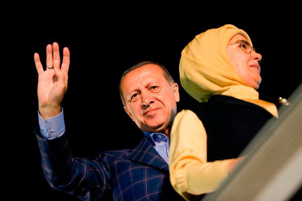 President Tayyip Erdogan with his wife Emine in Istanbul. Photo: Murad Sezer/Reuters