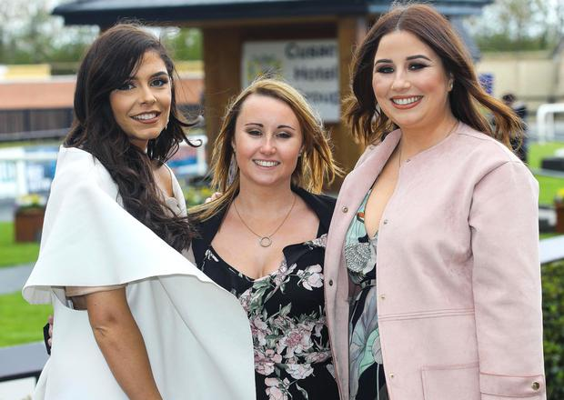 2017 Fairyhouse Racing Festival, Fairyhouse Racecourse, Co. Meath 16/4/2017 Amy Gannon, Amy Ryan and Ciara Scully from Dublin Pic: ©INPHO/Lorraine O'Sullivan