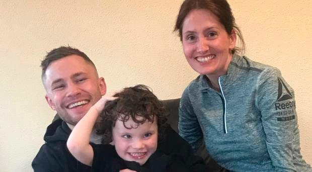 Boxer Carl Frampton with Rory Gallagher and his mum Shauna