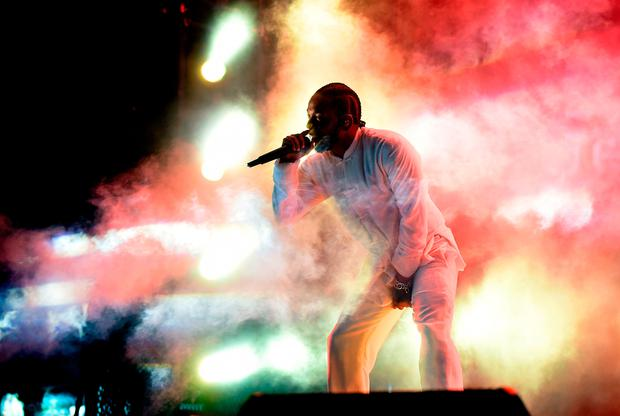 Rapper Kendrick Lamar performs on the Coachella Stage during day 3 of the Coachella Valley Music And Arts Festival (Weekend 1) at the Empire Polo Club on April 16, 2017 in Indio, California. (Photo by Kevin Winter/Getty Images for Coachella)
