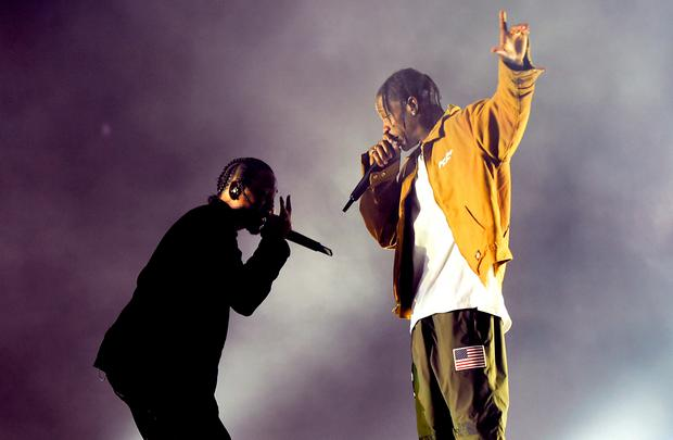 Rappers Kendrick Lamar (L) and Travis Scott perform on the Coachella Stage during day 3 of the Coachella Valley Music And Arts Festival (Weekend 1) at the Empire Polo Club on April 16, 2017 in Indio, California. (Photo by Kevin Winter/Getty Images for Coachella)