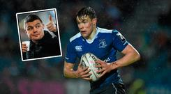 Garry Ringrose could be able to exploit Aurélien Rougerie's lack of pace, according to Brian O'Driscoll (inset)