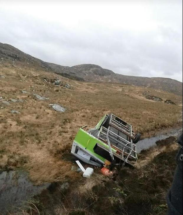 The Happy Camper on it side in the bog following the accident at the weekend Photo: The Happy Camper Facebook page