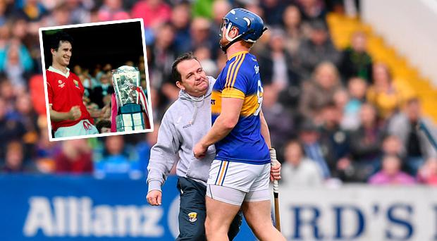 Davy Fitzgerald and Jason Forde clash and (inset) Tomas Mulcahy