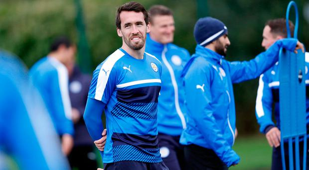 Leicester City defender Christian Fuchs during squad training. Photo: REUTERS
