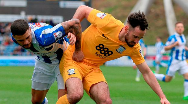 Preston North End's Greg Cunningham, left, is out for the rest of the season