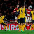 Alexis Sanchez puts Arsenal ahead from a free kick. Photo: REUTERS