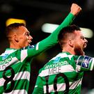 Brandon Miele, right, celebrates after scoring Shamrock Rovers' second goal with teammate Graham Burke. Photo: David Maher/Sportsfile