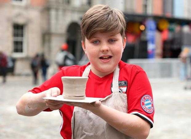 Lúí O'Connor with his ceramic bowl. Photo: Damien Eagers