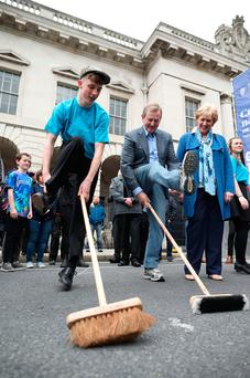 Clockwise from left is Enda Kenny and Heather Humphreys with Diarmuid O'Donnell (16) Picture: Maxwells