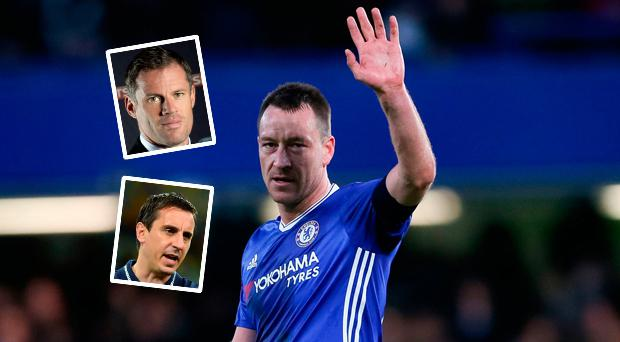 John Terry and (inset) Carragher and Neville