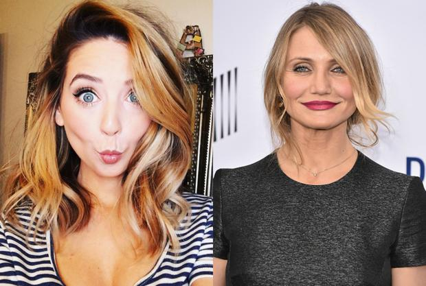 Zoe Sugg (L) and Cameron Diaz. Images: Instagram/Getty