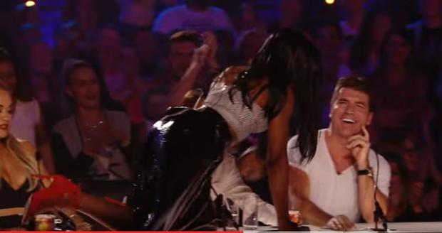 Bupsi crawls across the judges' desk during her first X Factor audition in 2015