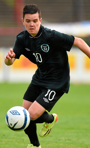 Liam Kelly in action for Ireland U19s