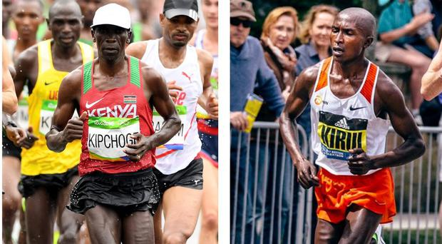 Geoffrey Kirui and Eliud Kipchoge show off their freakish legs CREDIT: GETTY IMAGES