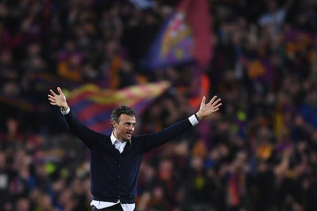 Barcelona manager Luis Enrique celebrates after the UEFA Champions League Round of 16 second leg match between FC Barcelona and Paris Saint-Germain at Camp Nou on March 8, 2017 in Barcelona, Spain. (Photo by Michael Regan/Getty Images)