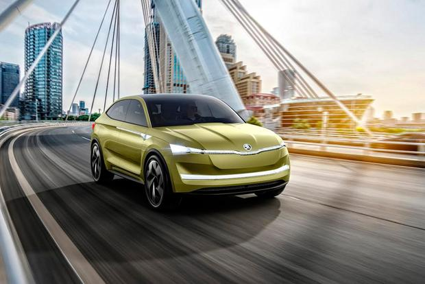 Skoda's 300bhp four-seat crossover Vision E electric car concept