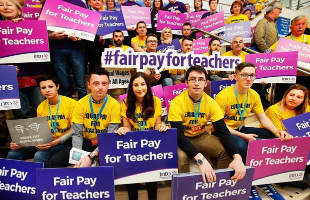 Protesting teachers at the INTO Congress in Belfast. Photo: Steve Humphreys
