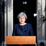 Britain's Prime Minister Theresa May speaks to the media outside 10 Downing Street, in central London, as she calls for an early election on June 8 Photo: REUTERS/Stefan Wermuth