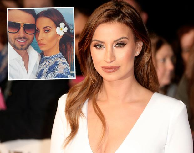 Reality star Ferne McCann, centre, and with boyfriend Arthur Collins, left
