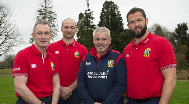 Kildare , Ireland - 7 December 2016; British & Irish Lions head coach Warren Gatland, 2nd from right, with his coaching team, from left, Rob Howley, Steve Borthwick, and Andy Farrell, during the announcement of the British & Irish Lions management team at Carton House in Maynooth, Co Kildare. (Photo By Brendan Moran/Sportsfile via Getty Images)