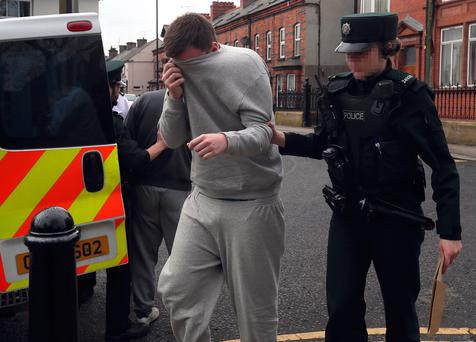 Ryan Eastwood arriving at Limavady Magistrates' Court, where he appeared accused of causing a person to engage in sexual activity without consent and other offences