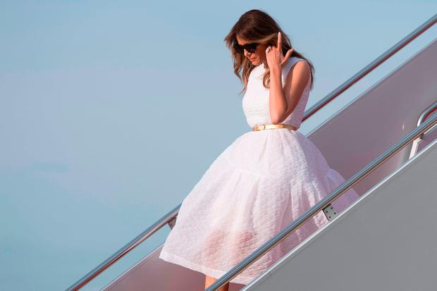 US First Lady Melania Trump walks off Air Force One at Andrews Air Force Base, Maryland, April 16, 2017. / AFP PHOTO / JIM WATSONJIM WATSON/AFP/Getty Images