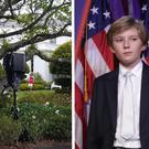 Barron Trump plays football on the White House lawn. CREDIT: GETTY IMAGES @DANASDIRT TWITTER