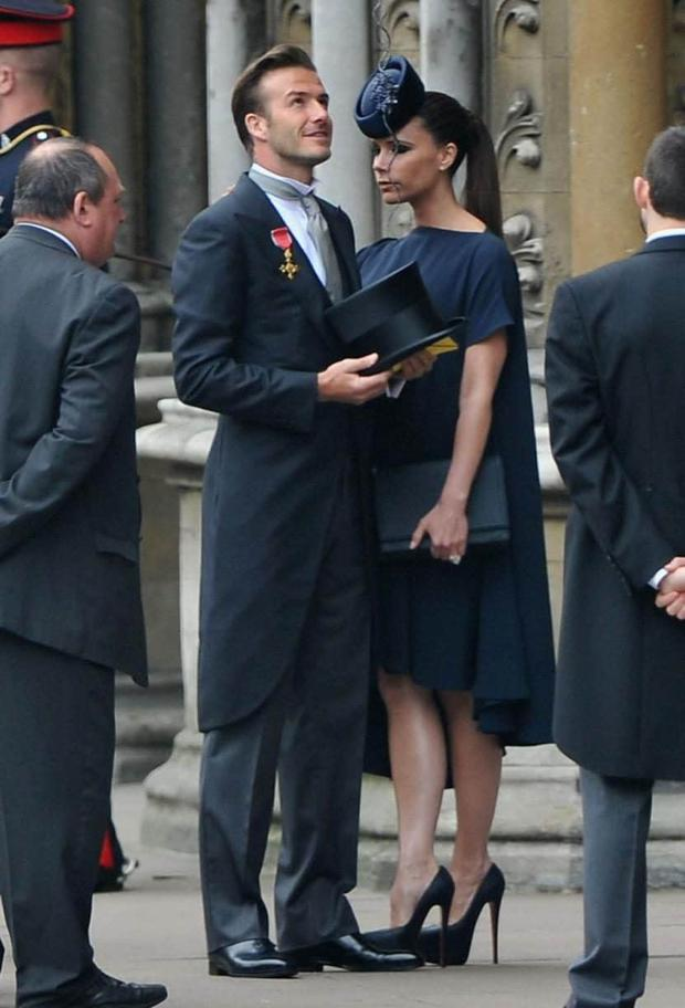 Victoria and David Beckham attend the wedding of Prince William and Kate Middleton in 2011.