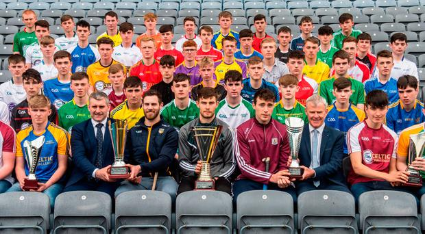Ambassadors Neil McManus of Antrim, Kildare's Paul Divily and Galway's Conor Cooney sit between Liam Sheedy and HDC Chair Paudie O'Neill at the Bank of Ireland Celtic Challenge launch. Photo by Sam Barnes/Sportsfile