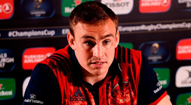 Munster's Tommy O'Donnell speaking during a press conference at the University of Limerick. Photo: Diarmuid Greene/Sportsfile